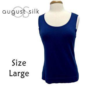 August Silk Navy Tank Silk Blend Size Large